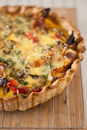 Roasted Vegetable Cheddar Quiche Recipe — Dishmaps