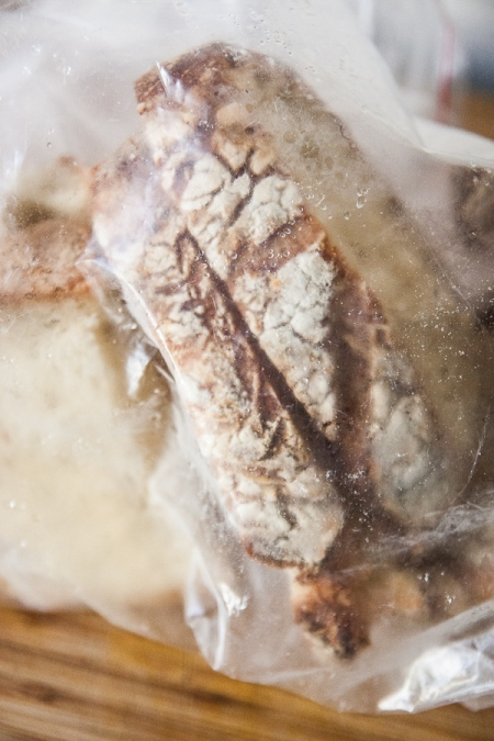 My homemade bread in a freezer baggie